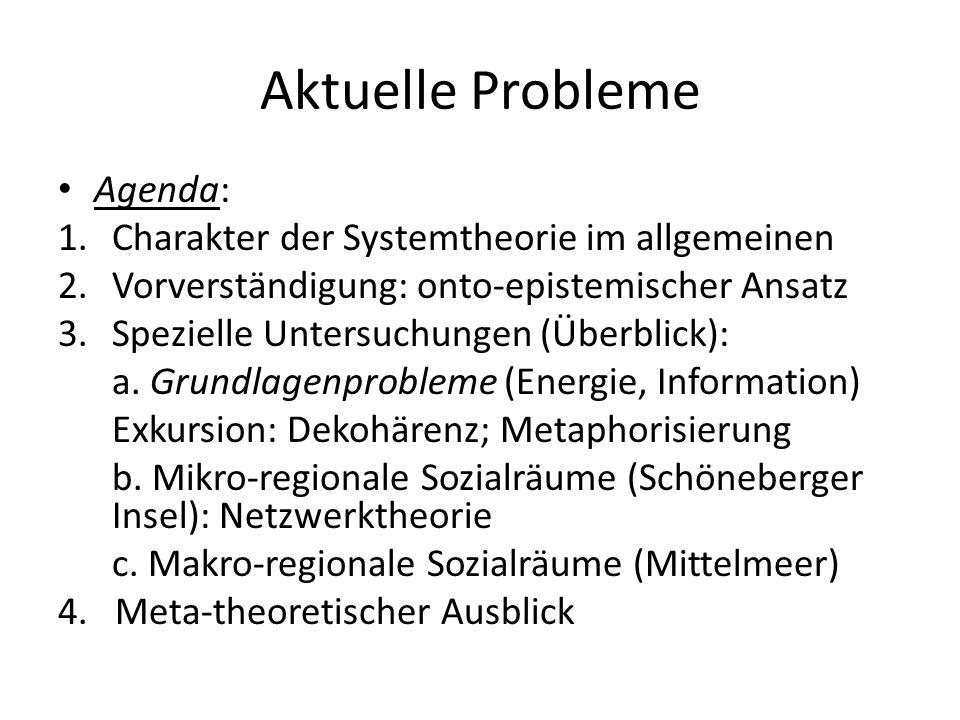 Aktuelle Probleme Agenda: 1.Charakter der Systemtheorie im allgemeinen 2.Vorverständigung: onto-epistemischer Ansatz 3.Spezielle Untersuchungen (Überb