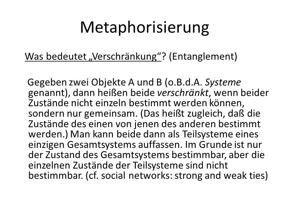 "Metaphorisierung Was bedeutet ""Verschränkung""? (Entanglement) Gegeben zwei Objekte A und B (o.B.d.A. Systeme genannt), dann heißen beide verschränkt,"