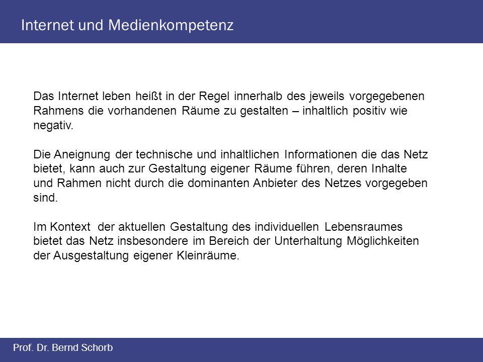 Internet und Medienkompetenz Prof. Dr. Bernd Schorb Das Internet leben heißt in der Regel innerhalb des jeweils vorgegebenen Rahmens die vorhandenen R