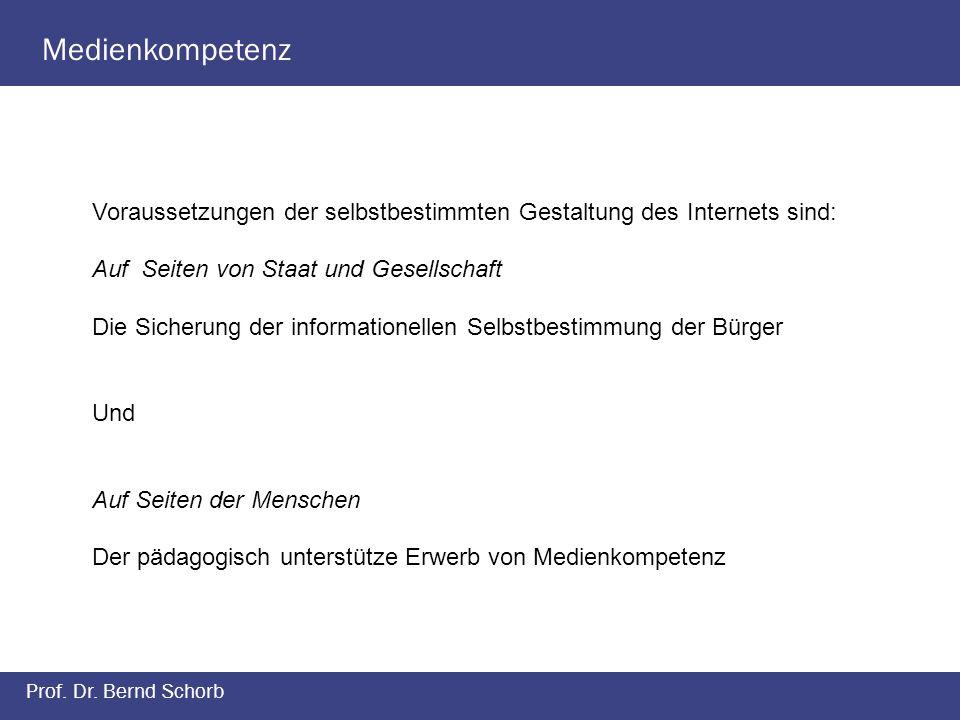 Medienkompetenz Prof. Dr. Bernd Schorb Voraussetzungen der selbstbestimmten Gestaltung des Internets sind: Auf Seiten von Staat und Gesellschaft Die S