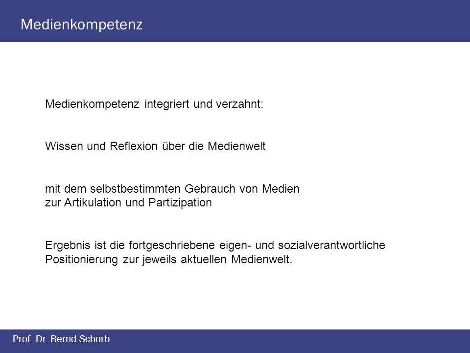 Medienkompetenz Prof. Dr. Bernd Schorb Medienkompetenz integriert und verzahnt: Wissen und Reflexion über die Medienwelt mit dem selbstbestimmten Gebr