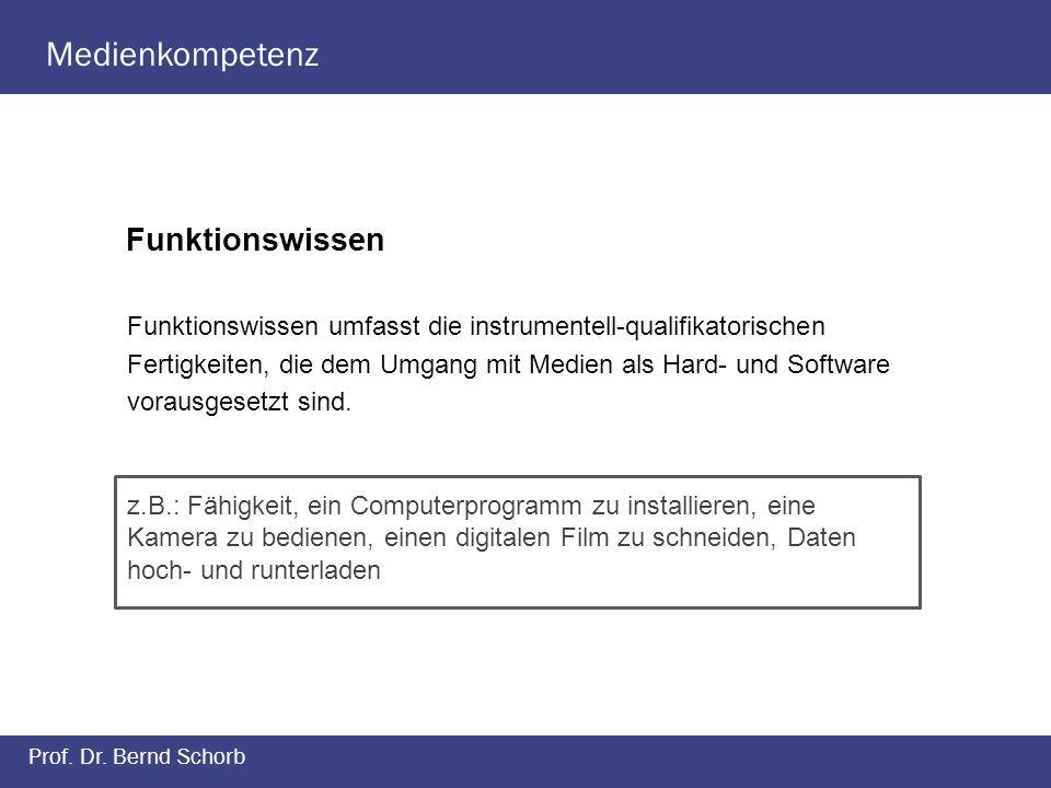 Medienkompetenz Prof. Dr. Bernd Schorb Funktionswissen Funktionswissen umfasst die instrumentell-qualifikatorischen Fertigkeiten, die dem Umgang mit M