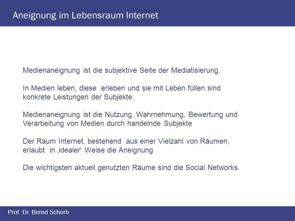 Aneignung im Lebensraum Internet Prof. Dr. Bernd Schorb Medienaneignung ist die subjektive Seite der Mediatisierung. In Medien leben, diese erleben un