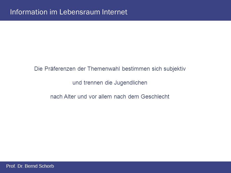 Information im Lebensraum Internet Prof. Dr. Bernd Schorb Die Präferenzen der Themenwahl bestimmen sich subjektiv und trennen die Jugendlichen nach Al