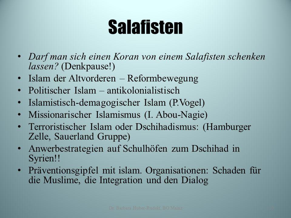 Salafisten Darf man sich einen Koran von einem Salafisten schenken lassen? (Denkpause!) Islam der Altvorderen – Reformbewegung Politischer Islam – ant