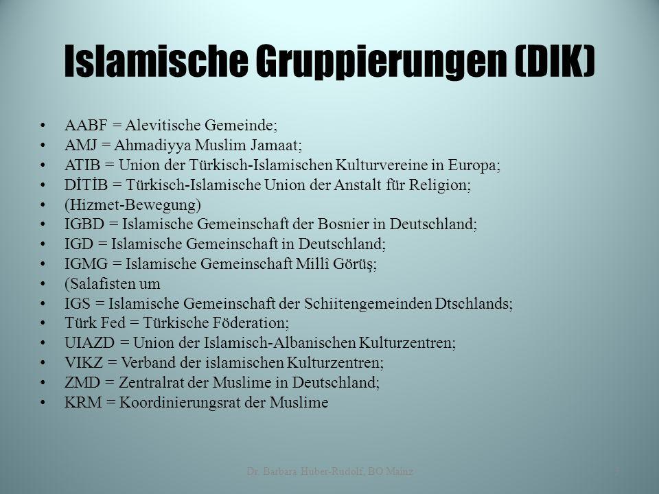 Islamische Gruppierungen (DIK) AABF = Alevitische Gemeinde; AMJ = Ahmadiyya Muslim Jamaat; ATIB = Union der Türkisch-Islamischen Kulturvereine in Euro