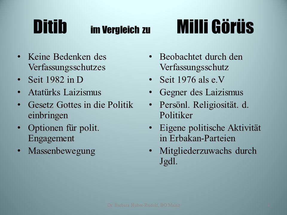 Ditib im Vergleich zu Milli Görüs Keine Bedenken des Verfassungsschutzes Seit 1982 in D Atatürks Laizismus Gesetz Gottes in die Politik einbringen Opt
