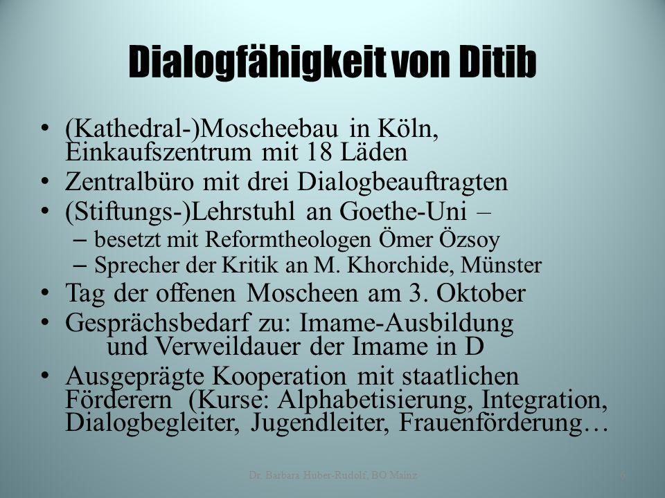 Dialogfähigkeit von Ditib (Kathedral-)Moscheebau in Köln, Einkaufszentrum mit 18 Läden Zentralbüro mit drei Dialogbeauftragten (Stiftungs-)Lehrstuhl a