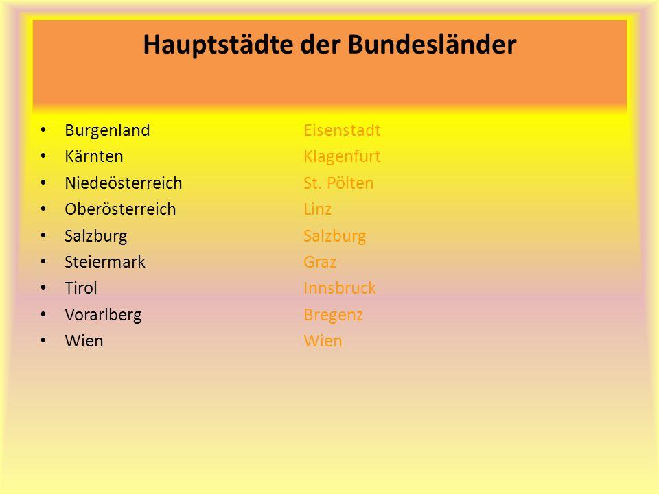 Hauptstädte der Bundesländer BurgenlandEisenstadt KärntenKlagenfurt NiedeösterreichSt. Pölten Oberösterreich Linz SalzburgSalzburg SteiermarkGraz Tiro