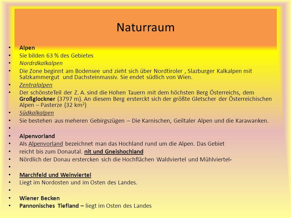 Naturraum Alpen Sie bilden 63 % des Gebietes Nordrdkalkalpen Die Zone beginnt am Bodensee und zieht sich über Nordtiroler, Slazburger Kalkalpen mit Salzkammergut und Dachsteinmassiv.