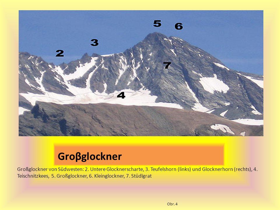 Groβglockner Großglockner von Südwesten: 2.Untere Glocknerscharte, 3.
