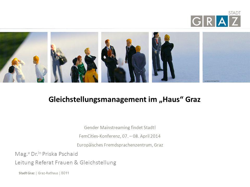 Übersicht  Fakten & Zahlen  kurzer Rückblick  Gender Mainstreaming in der Stadt Graz  Gleichstellungsmanagement als Führungsaufgabe  Lessons Learned  Resultate