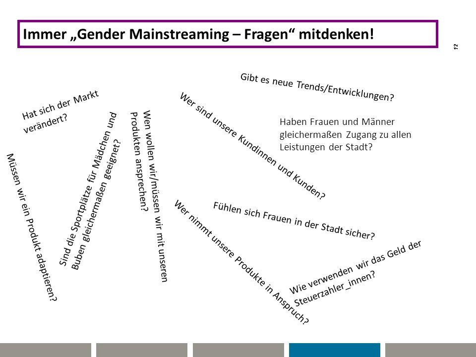 """12 Hat sich der Markt verändert? THE BALANCED SCORE CARD Immer """"Gender Mainstreaming – Fragen"""" mitdenken! Gibt es neue Trends/Entwicklungen? Wer sind"""
