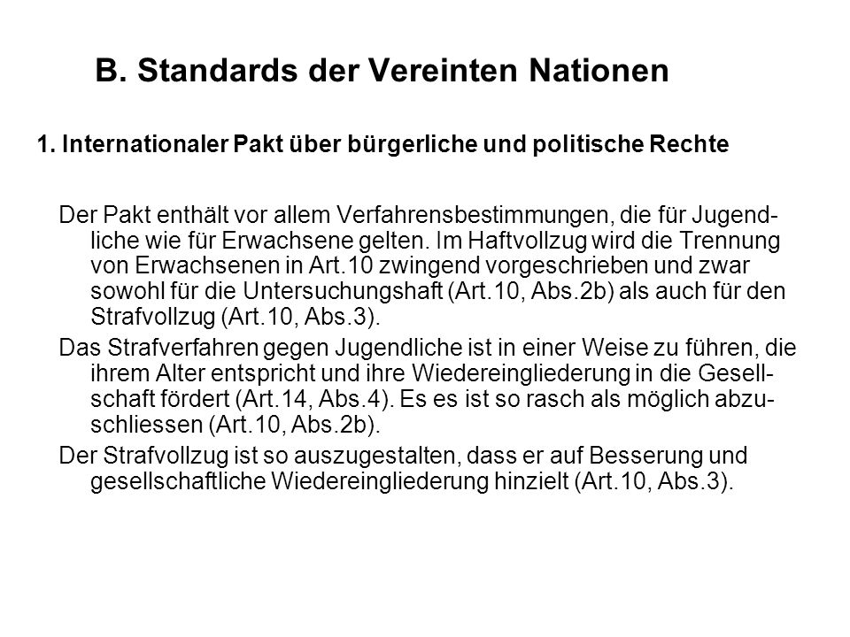 B. Standards der Vereinten Nationen 1.