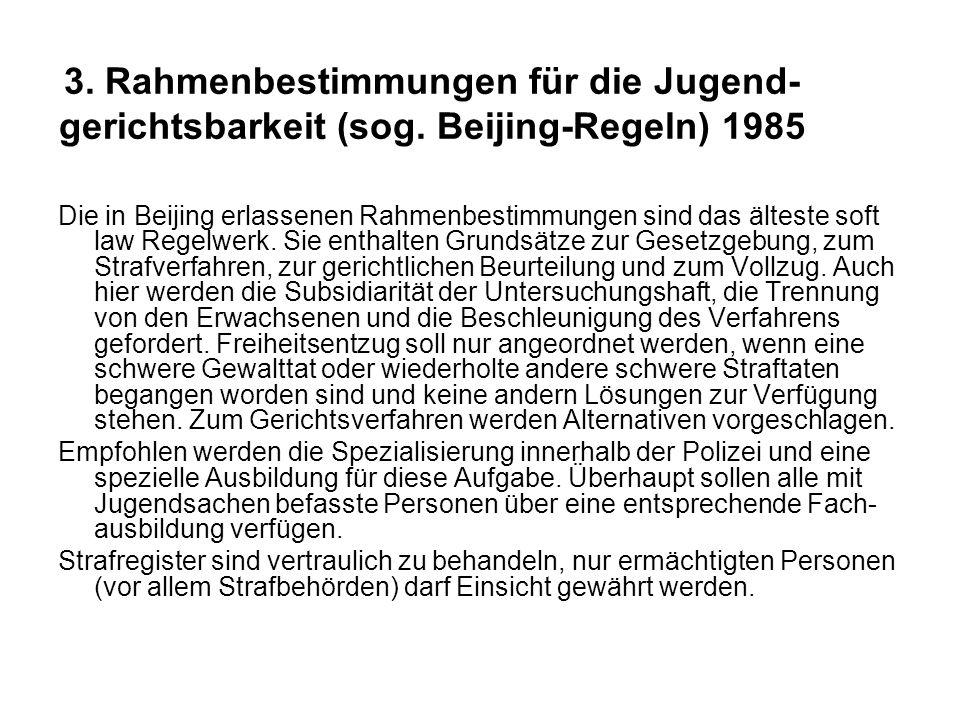 3. Rahmenbestimmungen für die Jugend- gerichtsbarkeit (sog.