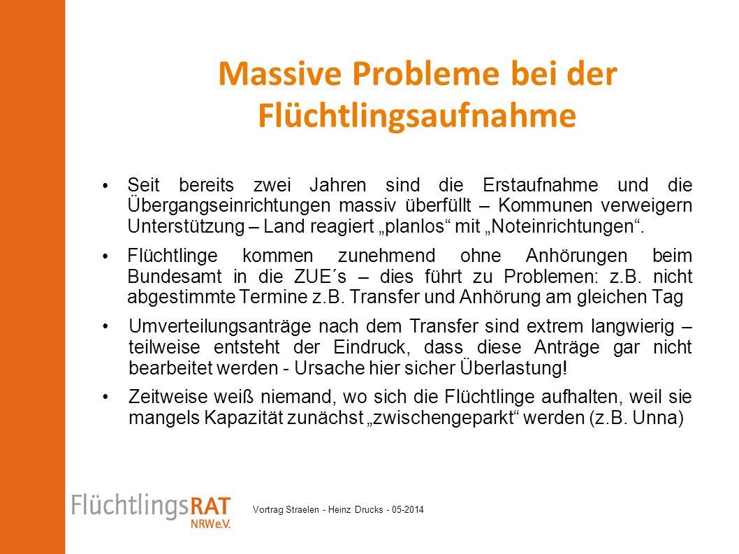 Vortrag Straelen - Heinz Drucks - 05-2014 Seit bereits zwei Jahren sind die Erstaufnahme und die Übergangseinrichtungen massiv überfüllt – Kommunen ve