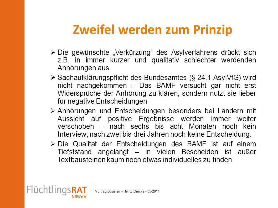 """Vortrag Straelen - Heinz Drucks - 05-2014  Die gewünschte """"Verkürzung"""" des Asylverfahrens drückt sich z.B. in immer kürzer und qualitativ schlechter"""
