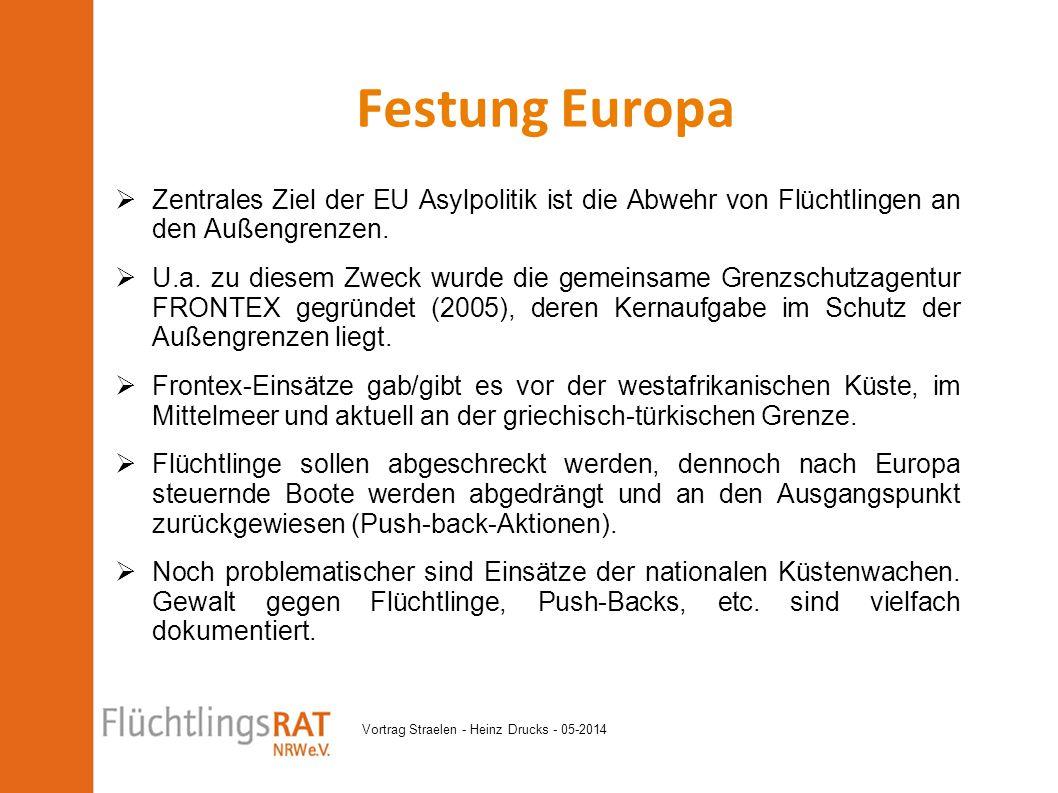 Vortrag Straelen - Heinz Drucks - 05-2014  Zentrales Ziel der EU Asylpolitik ist die Abwehr von Flüchtlingen an den Außengrenzen.  U.a. zu diesem Zw