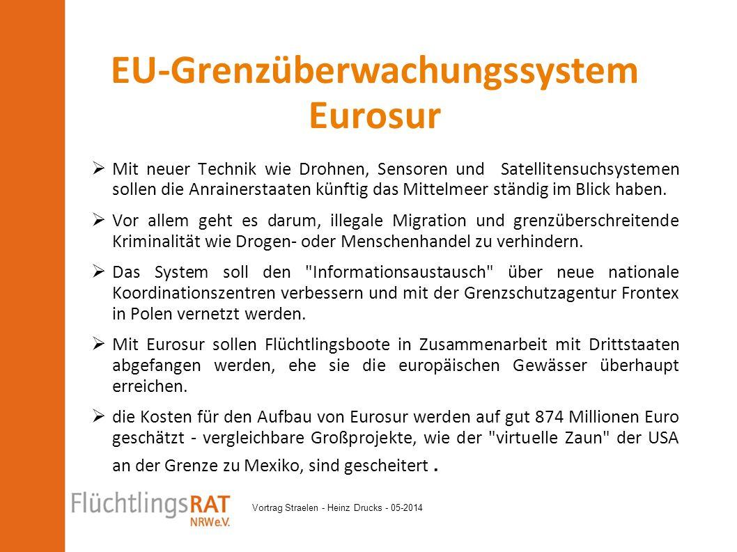 Vortrag Straelen - Heinz Drucks - 05-2014  Mit neuer Technik wie Drohnen, Sensoren und Satellitensuchsystemen sollen die Anrainerstaaten künftig das