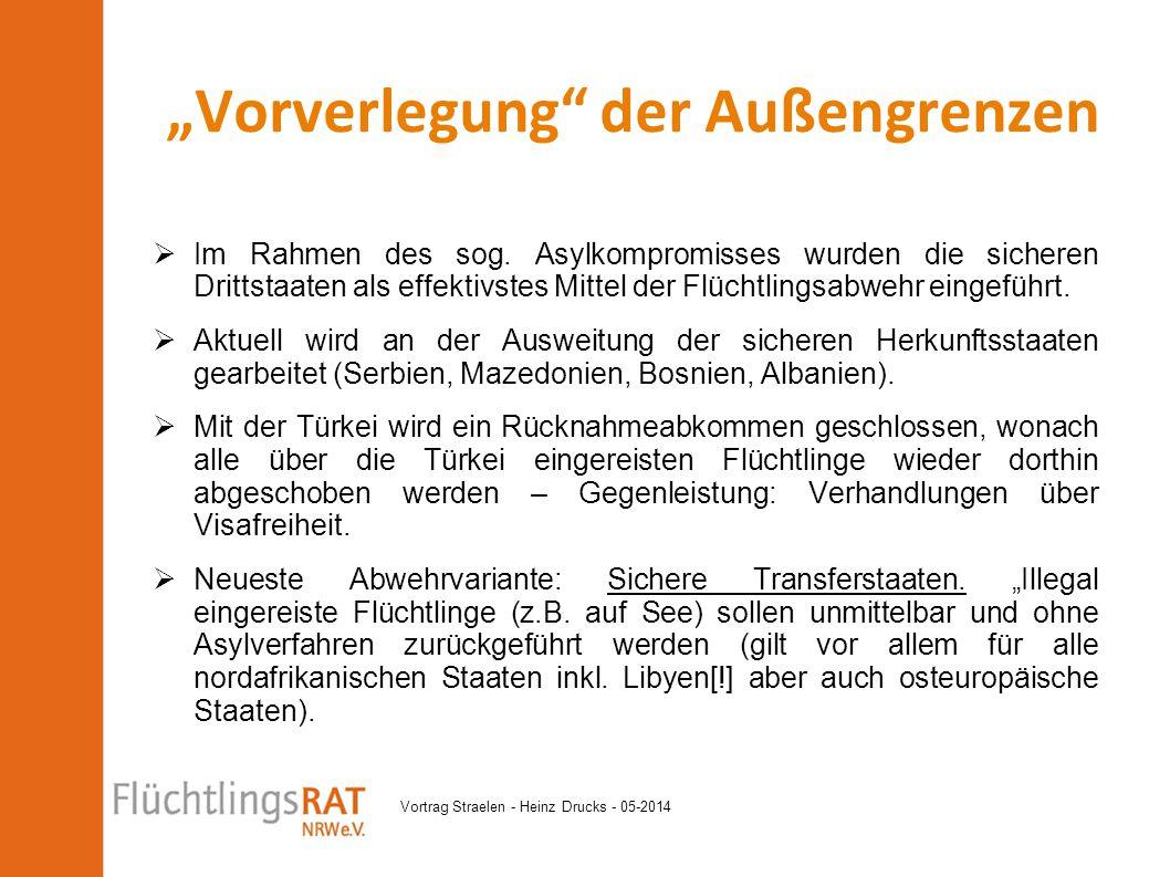 Vortrag Straelen - Heinz Drucks - 05-2014  Im Rahmen des sog. Asylkompromisses wurden die sicheren Drittstaaten als effektivstes Mittel der Flüchtlin