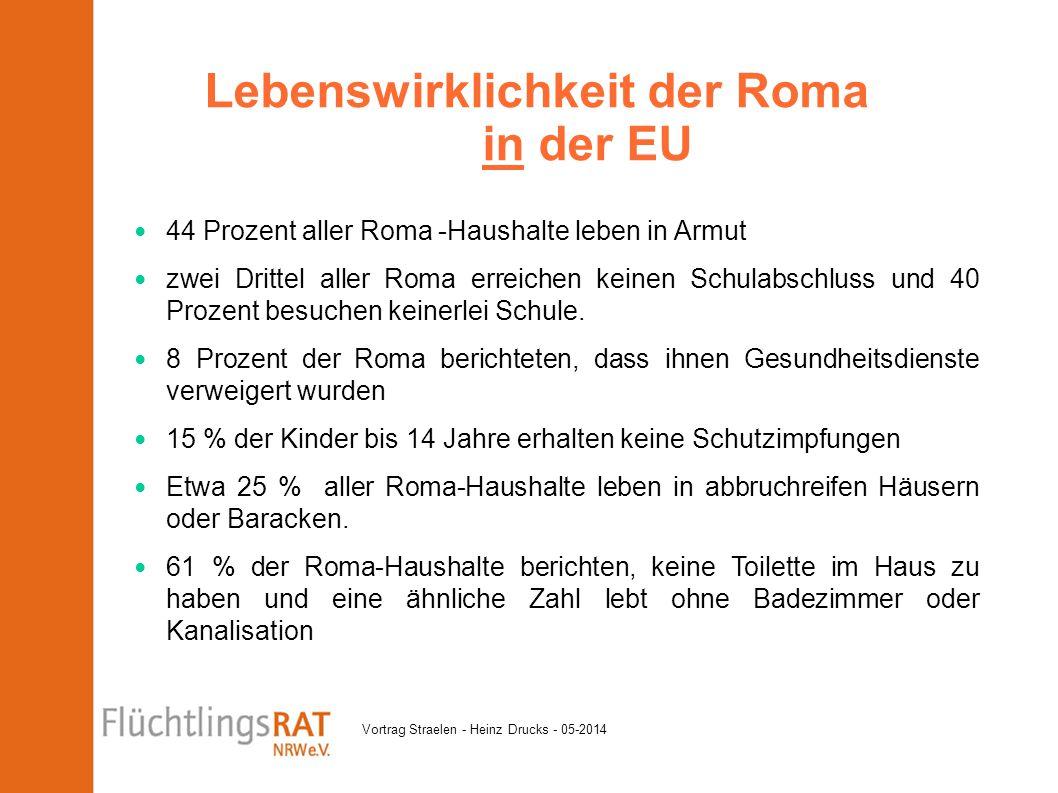 Vortrag Straelen - Heinz Drucks - 05-2014 44 Prozent aller Roma -Haushalte leben in Armut zwei Drittel aller Roma erreichen keinen Schulabschluss und