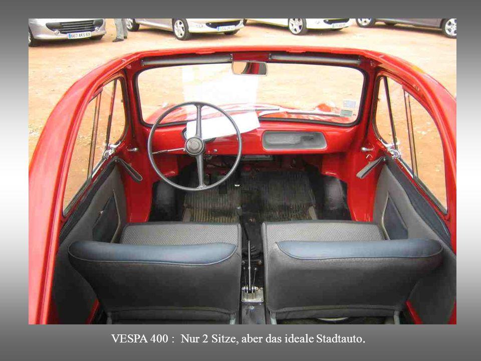VESPA 400 : Mini-Coupé mit Faltdach. Trotz seines Namens ein französisches Fabrikat.
