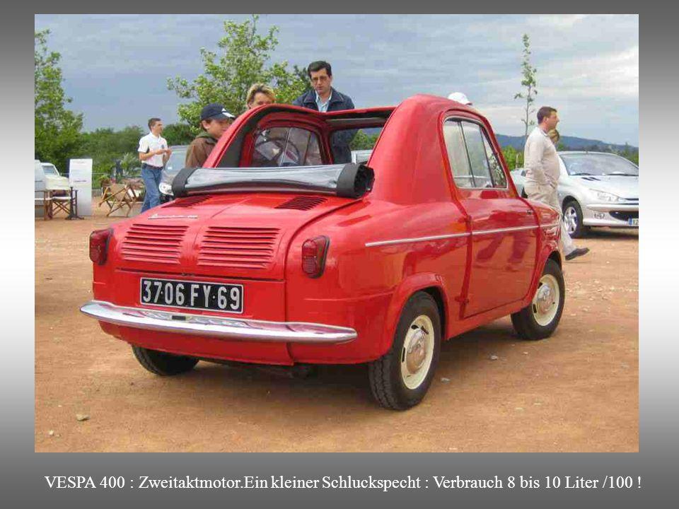 VESPA 400 : Nur 2 Sitze, aber das ideale Stadtauto.
