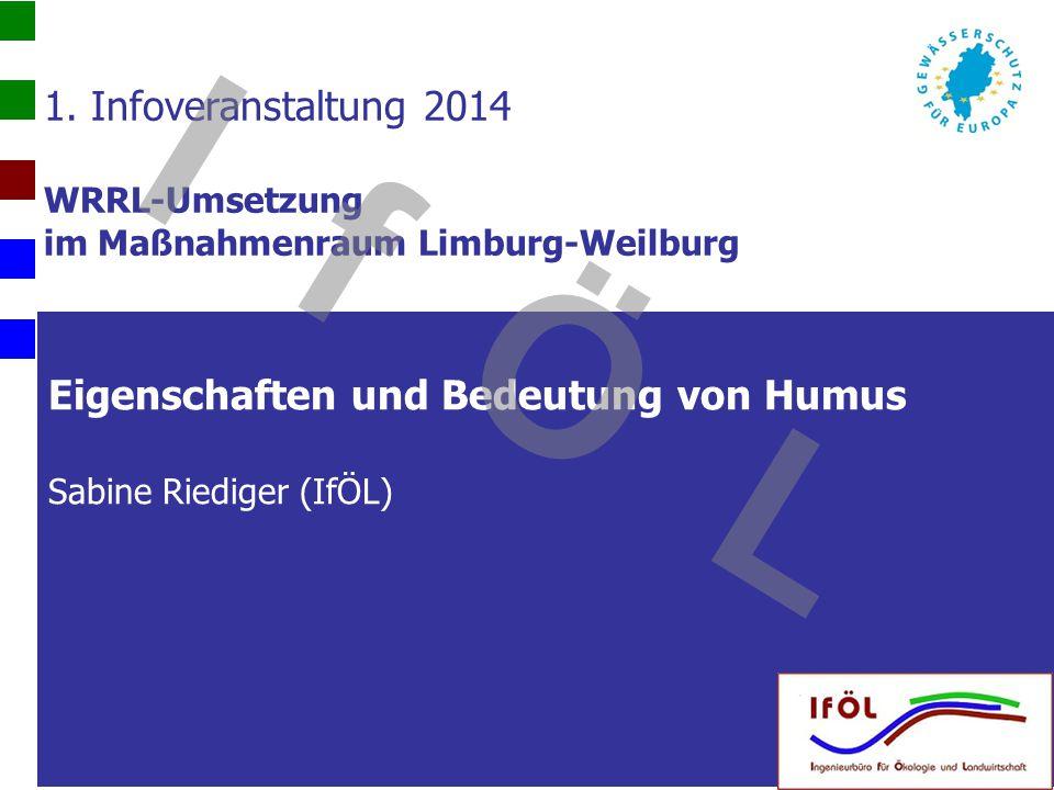 Eigenschaften und Bedeutung von Humus Sabine Riediger (IfÖL) 1. Infoveranstaltung 2014 WRRL-Umsetzung im Maßnahmenraum Limburg-Weilburg I f Ö L