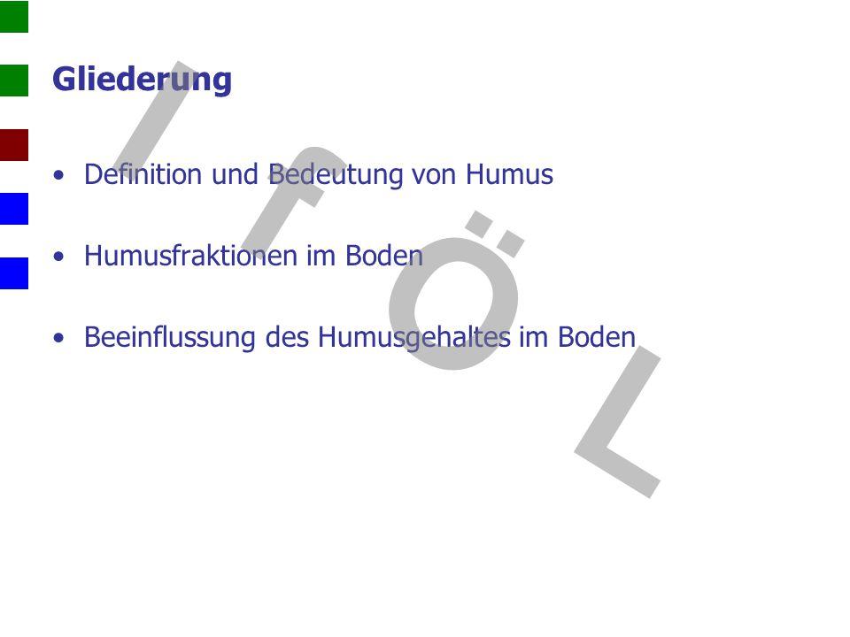 Gliederung Definition und Bedeutung von Humus Humusfraktionen im Boden Beeinflussung des Humusgehaltes im Boden I f Ö L