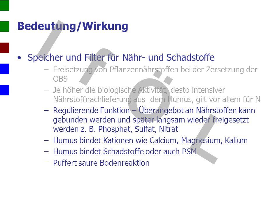 Bedeutung/Wirkung Bodenbiologische Wirkung –Enge Beziehung zw.