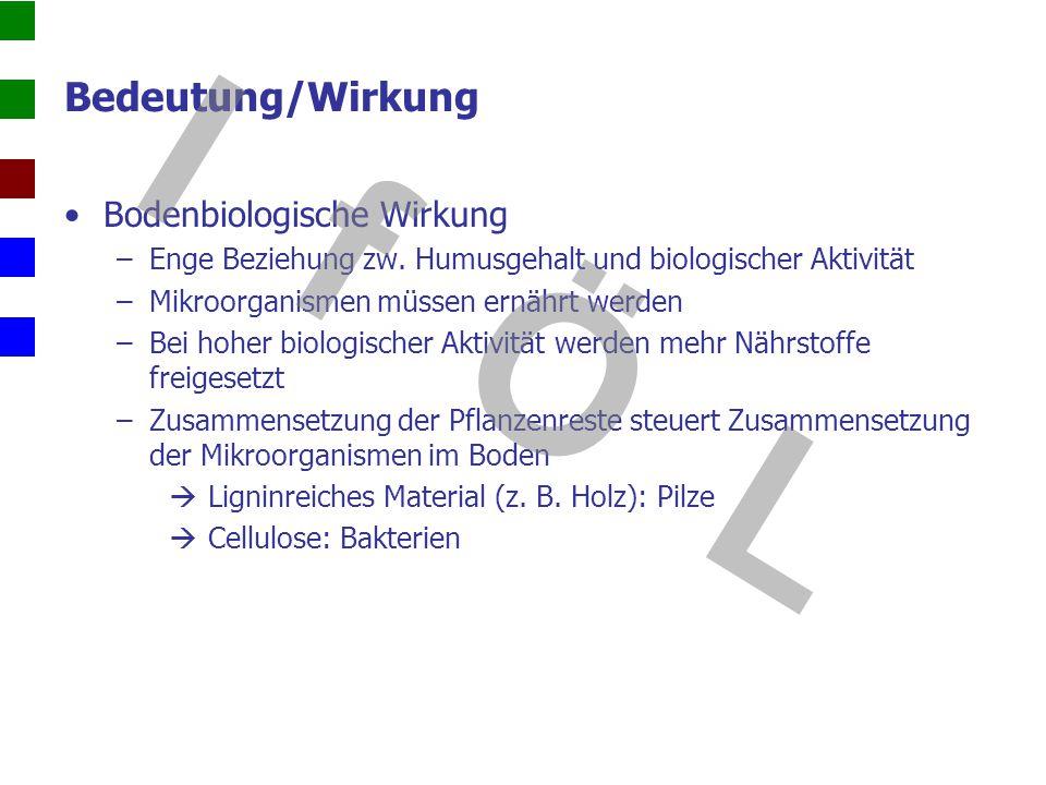 Mineralisierung und Humifizierung Quelle: Gisi, 1997 I f Ö L