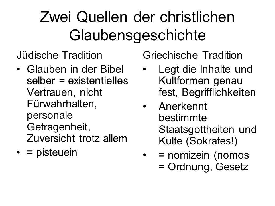 Zwei Quellen der christlichen Glaubensgeschichte Jüdische Tradition Glauben in der Bibel selber = existentielles Vertrauen, nicht Fürwahrhalten, perso