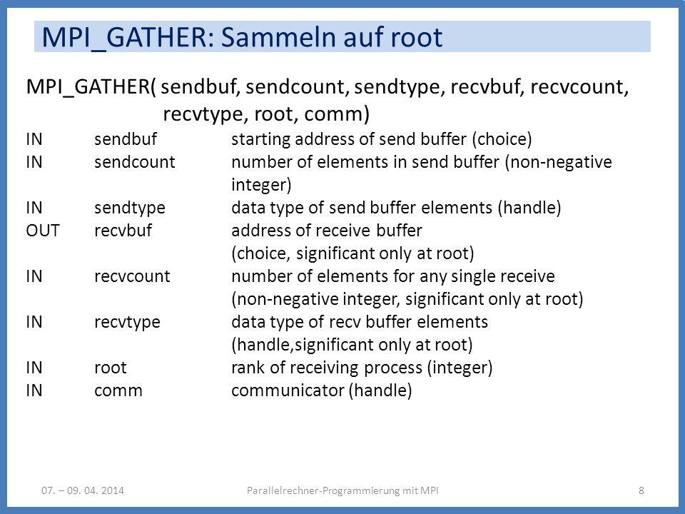 MPI_GATHER: Sammeln auf root Parallelrechner-Programmierung mit MPI807. – 09. 04. 2014 MPI_GATHER( sendbuf, sendcount, sendtype, recvbuf, recvcount, r