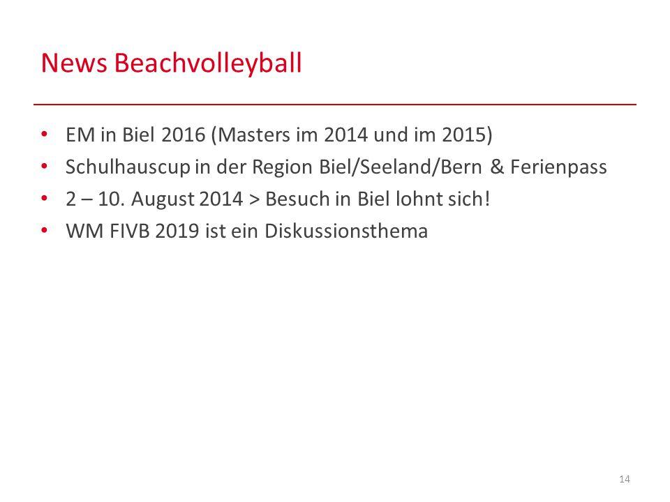 News Beachvolleyball 14 EM in Biel 2016 (Masters im 2014 und im 2015) Schulhauscup in der Region Biel/Seeland/Bern & Ferienpass 2 – 10.
