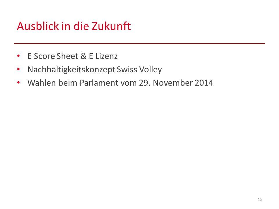 Ausblick in die Zukunft 15 E Score Sheet & E Lizenz Nachhaltigkeitskonzept Swiss Volley Wahlen beim Parlament vom 29.