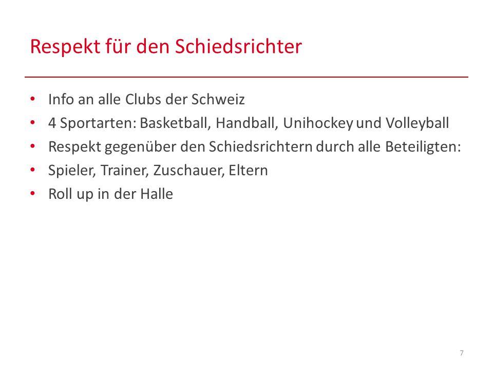 Respekt für den Schiedsrichter 7 Info an alle Clubs der Schweiz 4 Sportarten: Basketball, Handball, Unihockey und Volleyball Respekt gegenüber den Schiedsrichtern durch alle Beteiligten: Spieler, Trainer, Zuschauer, Eltern Roll up in der Halle