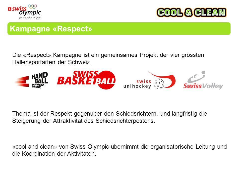 Die «Respect» Kampagne ist ein gemeinsames Projekt der vier grössten Hallensportarten der Schweiz.
