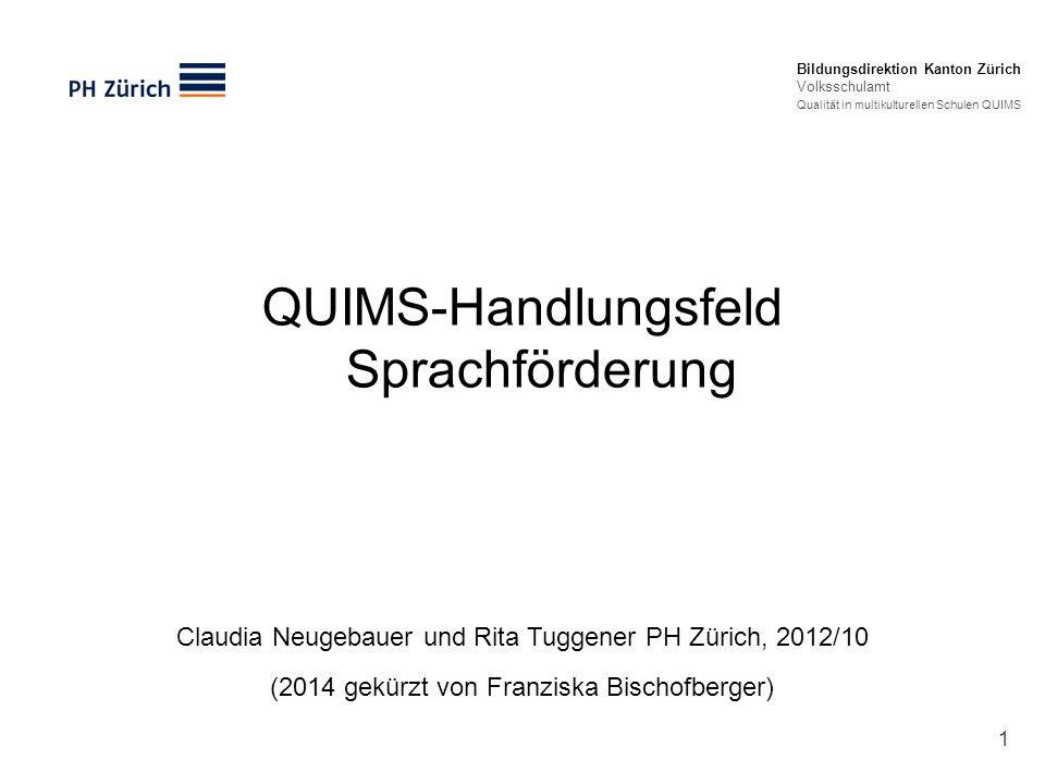 QUIMS-Handlungsfeld Sprachförderung Bildungsdirektion Kanton Zürich Volksschulamt Qualität in multikulturellen Schulen QUIMS Claudia Neugebauer und Ri
