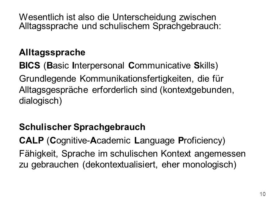 Wesentlich ist also die Unterscheidung zwischen Alltagssprache und schulischem Sprachgebrauch: Alltagssprache BICS (Basic Interpersonal Communicative