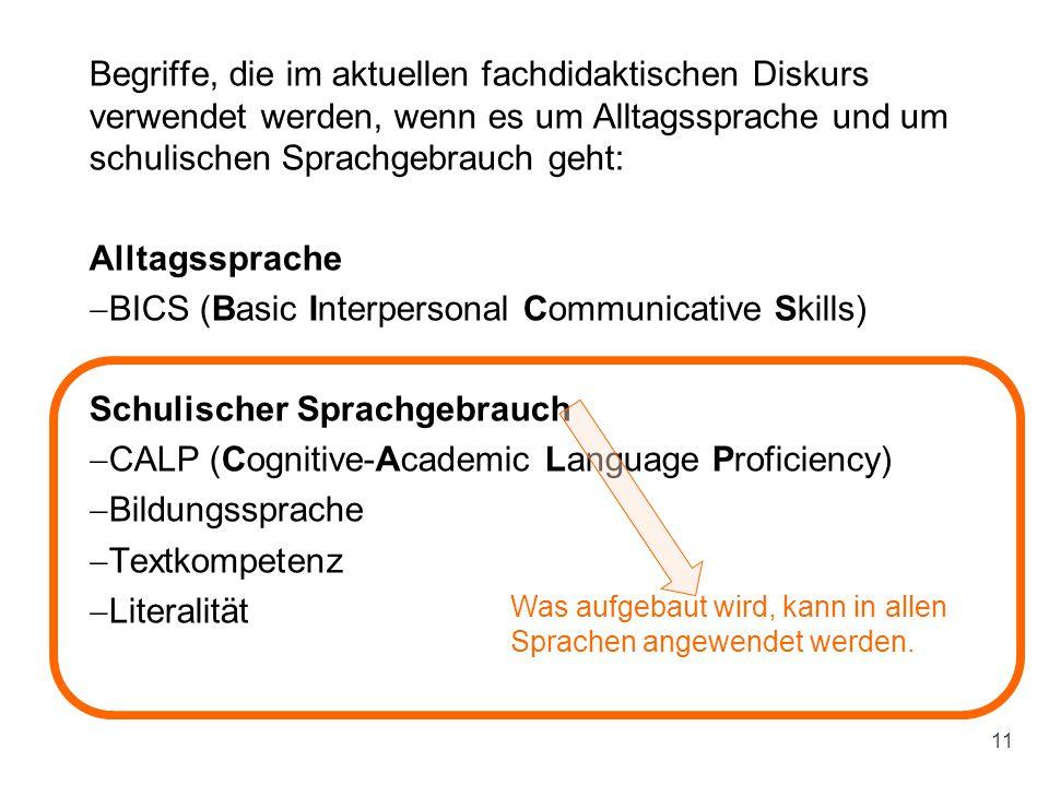 Begriffe, die im aktuellen fachdidaktischen Diskurs verwendet werden, wenn es um Alltagssprache und um schulischen Sprachgebrauch geht: Alltagssprache