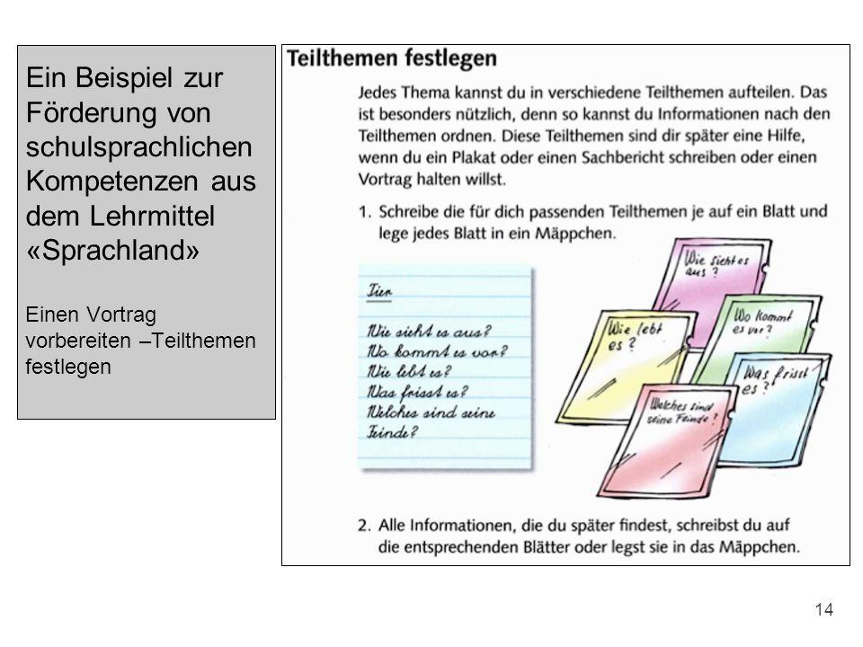 Ein Beispiel zur Förderung von schulsprachlichen Kompetenzen aus dem Lehrmittel «Sprachland» Einen Vortrag vorbereiten –Teilthemen festlegen 14