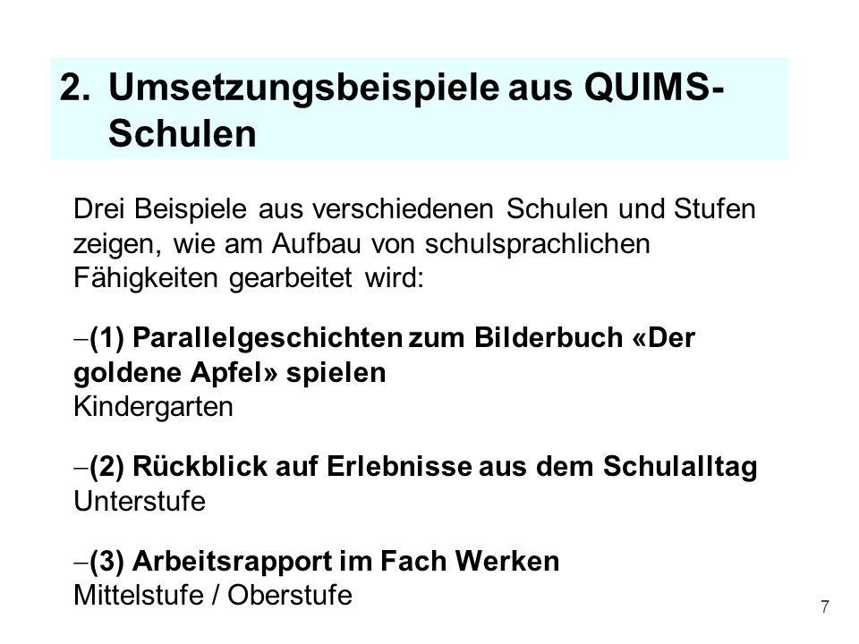 QUIMS-Schwerpunkte 2014 - 2017 A: Schreibförderung auf allen Schulstufen B: Sprache und Elterneinbezug im Kindergarten Diese beiden Schwerpunkte werden an einem nächsten QUIMS-Workshop Thema sein.