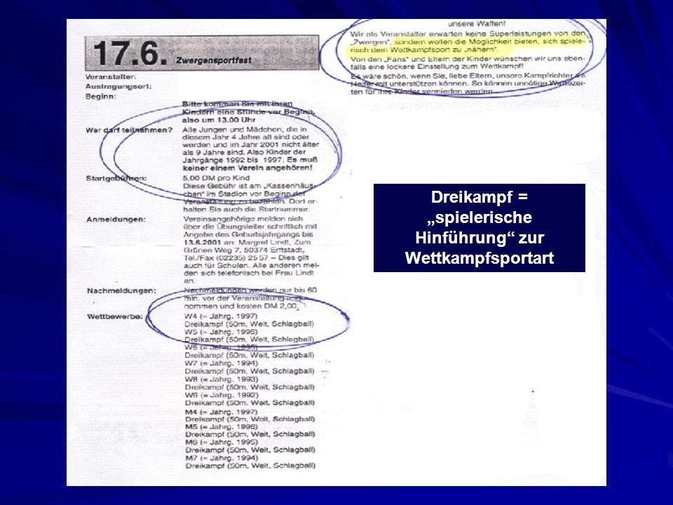"""Dreikampf = """"spielerische Hinführung"""" zur Wettkampfsportart"""