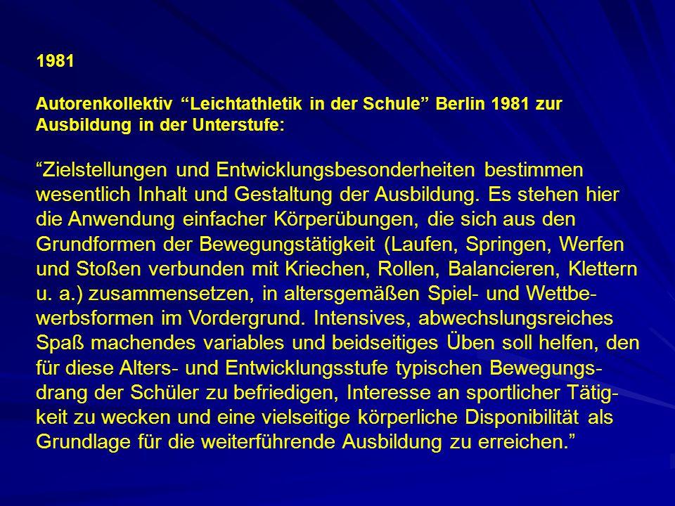 """1981 Autorenkollektiv """"Leichtathletik in der Schule"""" Berlin 1981 zur Ausbildung in der Unterstufe: """"Zielstellungen und Entwicklungsbesonderheiten best"""