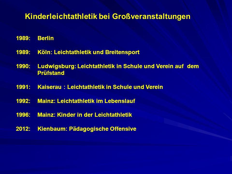 Kinderleichtathletik bei Großveranstaltungen 1989:Berlin 1989:Köln: Leichtathletik und Breitensport 1990:Ludwigsburg: Leichtathletik in Schule und Ver