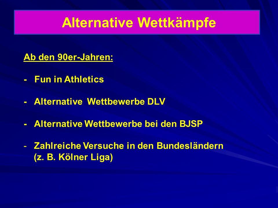 Alternative Wettkämpfe Ab den 90er-Jahren: - Fun in Athletics - Alternative Wettbewerbe DLV - Alternative Wettbewerbe bei den BJSP -Zahlreiche Versuch