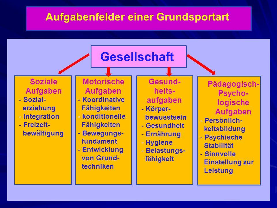 Aufgabenfelder einer Grundsportart Soziale Aufgaben - Sozial- erziehung - Integration - Freizeit- bewältigung Motorische Aufgaben - Koordinative Fähig