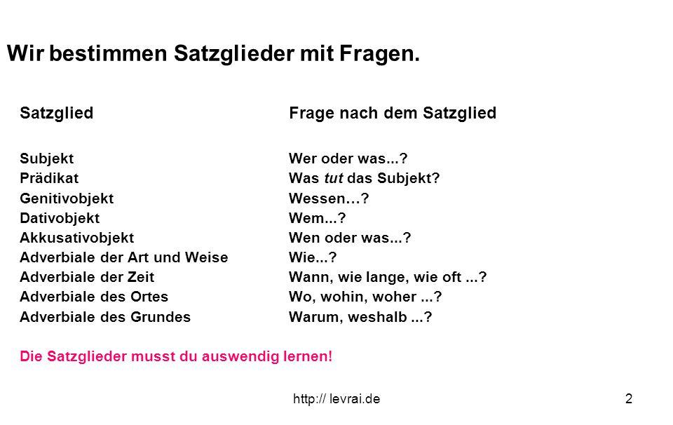 http:// levrai.de2 Wir bestimmen Satzglieder mit Fragen. SatzgliedFrage nach dem Satzglied SubjektWer oder was...? PrädikatWas tut das Subjekt? Geniti
