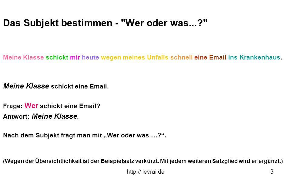 http:// levrai.de3 Das Subjekt bestimmen -