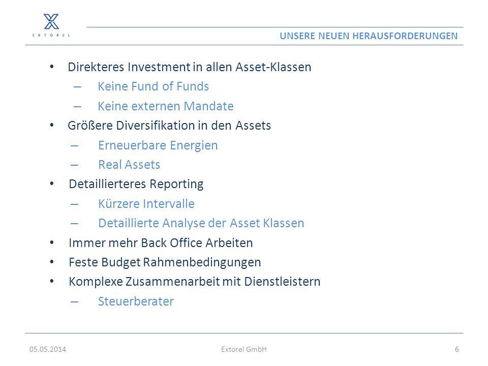 UNSERE NEUEN HERAUSFORDERUNGEN Direkteres Investment in allen Asset-Klassen – Keine Fund of Funds – Keine externen Mandate Größere Diversifikation in